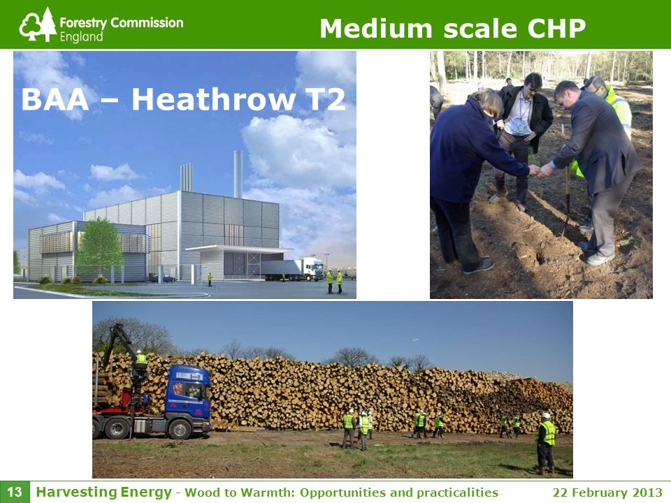 Harvesting Energy - Wood to Warmth: Opportunities and practicalities 22 February 2013 13 Medium scale CHP BAA – Heathrow T2