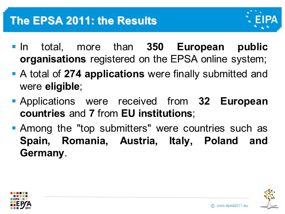 www.epsa2011.eu © The EPSA 2011: the Results In total, more than 350 European public organisations registered on the EPSA online system; A total of 27
