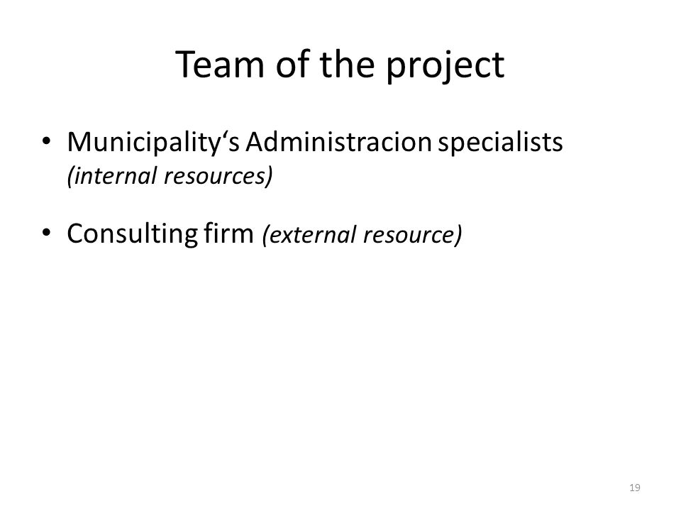 Team of the project Municipalitys Administracion specialists (internal resources) Consulting firm (external resource) 19