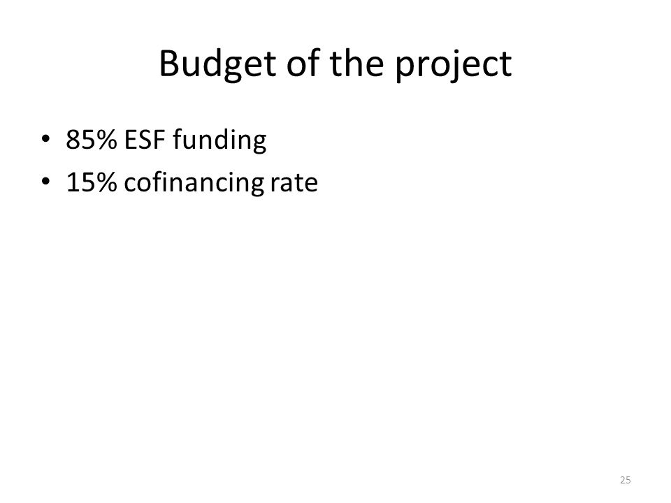 Budget of the project 85% ESF funding 15% cofinancing rate 25