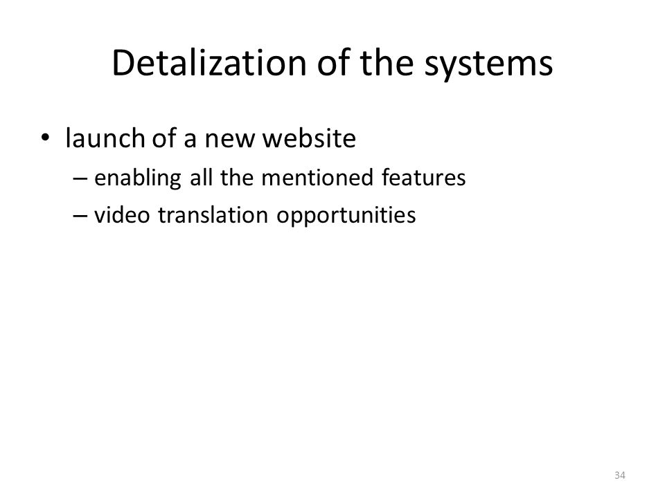 Detalization of the systems launch of a new website – enabling all the mentioned features – video translation opportunities 34