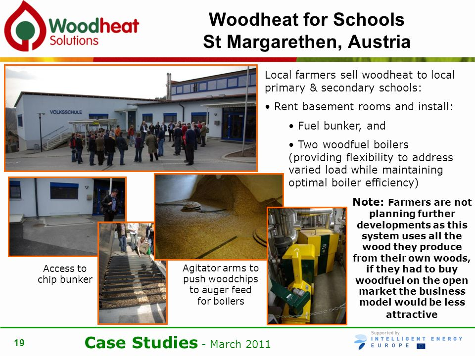 Case Studies - March Woodheat for Schools St Margarethen, Austria Local farmers sell woodheat to local primary & secondary schools: Rent basement rooms and install: Fuel bunker, and Two woodfuel boilers (providing flexibility to address varied load while maintaining optimal boiler efficiency) Note: Farmers are not planning further developments as this system uses all the wood they produce from their own woods, if they had to buy woodfuel on the open market the business model would be less attractive Access to chip bunker Agitator arms to push woodchips to auger feed for boilers
