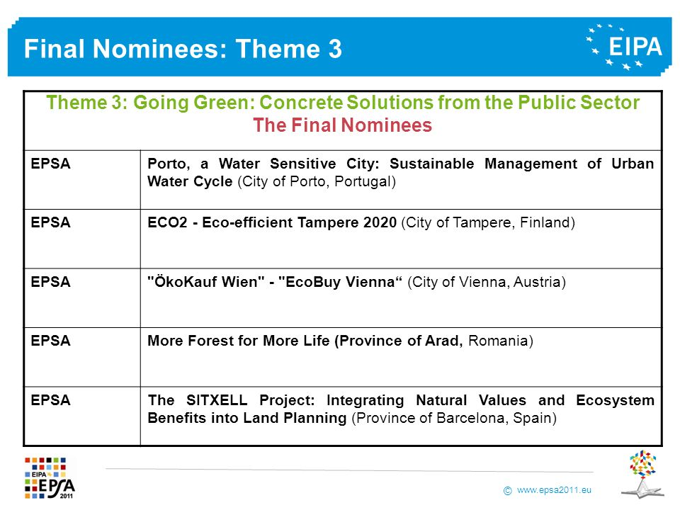 www.epsa2011.eu © Final Nominees: Theme 3 Theme 3: Going Green: Concrete Solutions from the Public Sector The Final Nominees EPSAPorto, a Water Sensitive City: Sustainable Management of Urban Water Cycle (City of Porto, Portugal) EPSAECO2 - Eco-efficient Tampere 2020 (City of Tampere, Finland) EPSA ÖkoKauf Wien - EcoBuy Vienna (City of Vienna, Austria) EPSAMore Forest for More Life (Province of Arad, Romania) EPSAThe SITXELL Project: Integrating Natural Values and Ecosystem Benefits into Land Planning (Province of Barcelona, Spain)