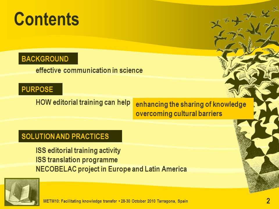 METM10: Facilitating knowledge transfer 28-30 October 2010 Tarragona, Spain 22 effective communication in science Contents BACKGROUND PURPOSE SOLUTION