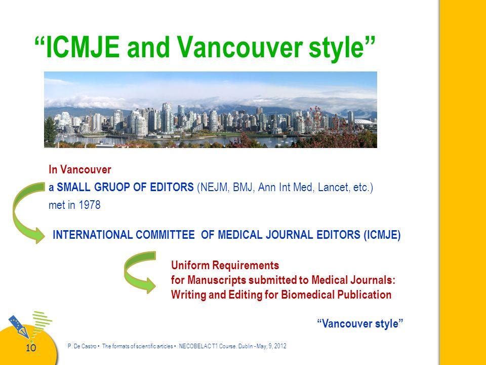 11 P.De Castro The formats of scientific articles NECOBELAC T1 Course.