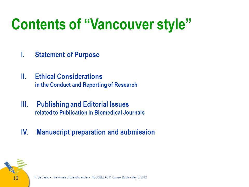 14 P.De Castro The formats of scientific articles NECOBELAC T1 Course.