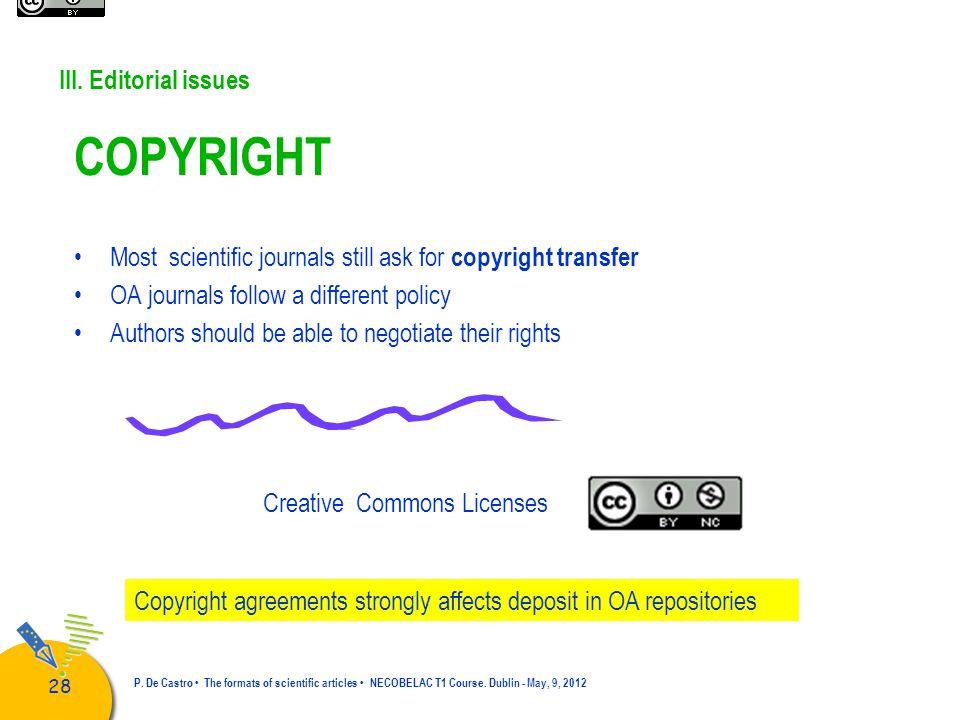 29 P.De Castro The formats of scientific articles NECOBELAC T1 Course.