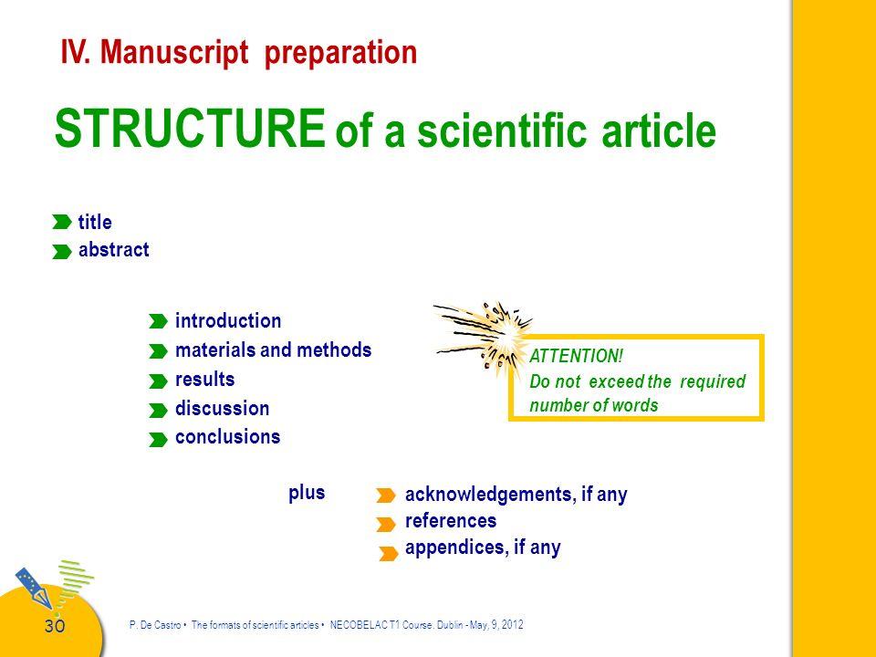 31 P.De Castro The formats of scientific articles NECOBELAC T1 Course.