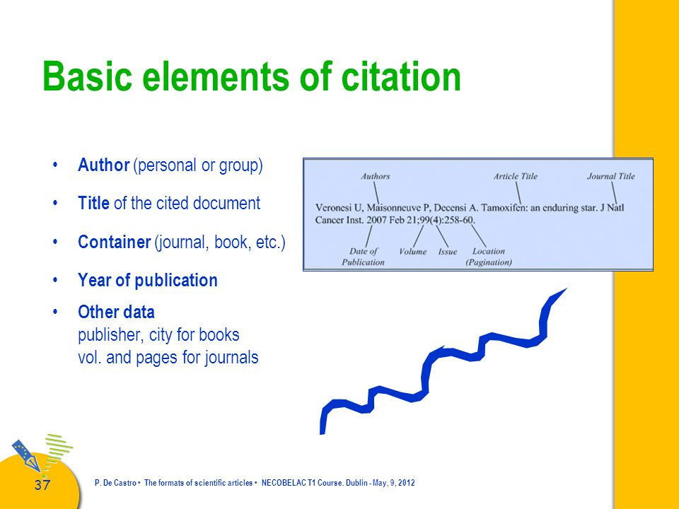 38 P.De Castro The formats of scientific articles NECOBELAC T1 Course.