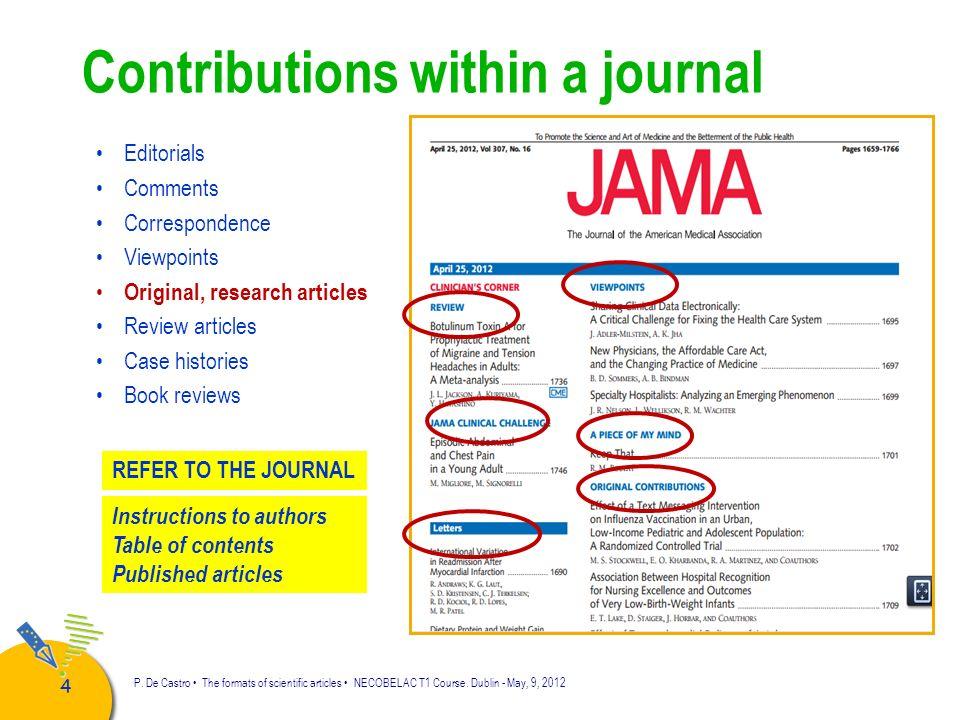 55 P.De Castro The formats of scientific articles NECOBELAC T1 Course.