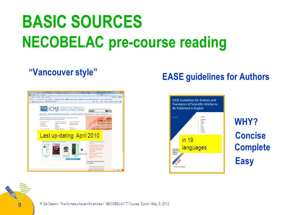 10 P.De Castro The formats of scientific articles NECOBELAC T1 Course.