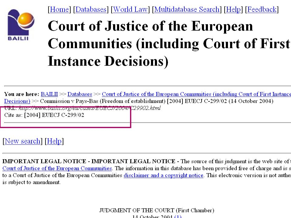 13 11-12-2008Ingredients for Inter-European Case Law Search
