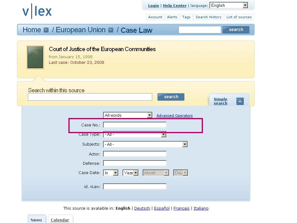 14 11-12-2008Ingredients for Inter-European Case Law Search