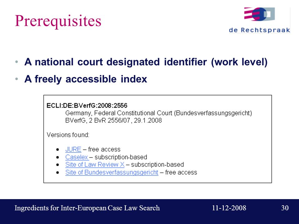 30 11-12-2008Ingredients for Inter-European Case Law Search Prerequisites A national court designated identifier (work level) A freely accessible index