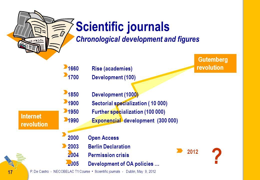 P. De Castro - NECOBELAC T1 Course Scientific journals - Dublin, May 9, 2012 16 Scientific journals develop since the 18 th century Scientific societi