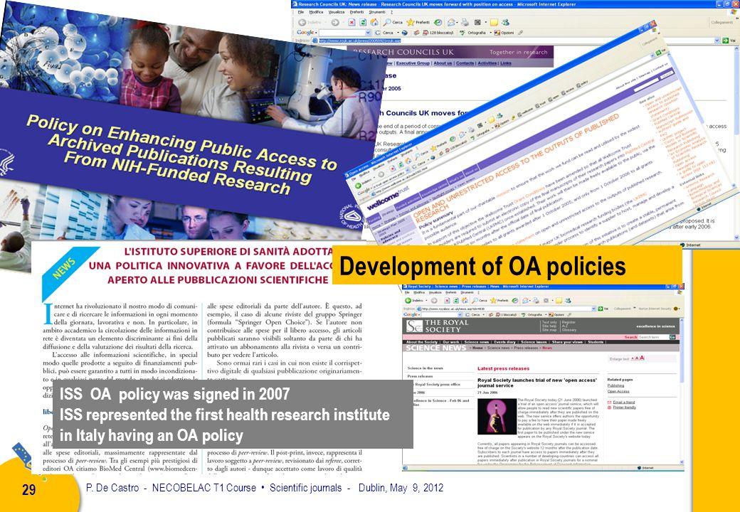 P. De Castro - NECOBELAC T1 Course Scientific journals - Dublin, May 9, 2012 28 Open Journal Systems Free software for online journal management About