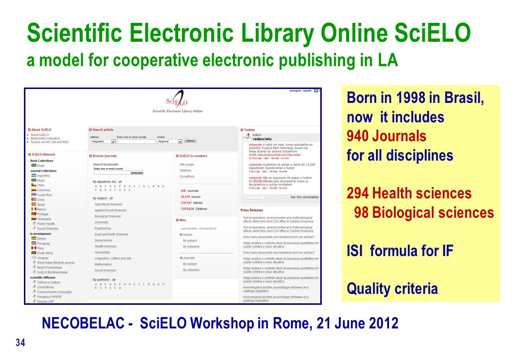 P. De Castro - NECOBELAC T1 Course Scientific journals - Dublin, May 9, 2012 33 HOW MANY journals today? ISSN all disciplines (aprox.1.500.000 ) 900.0