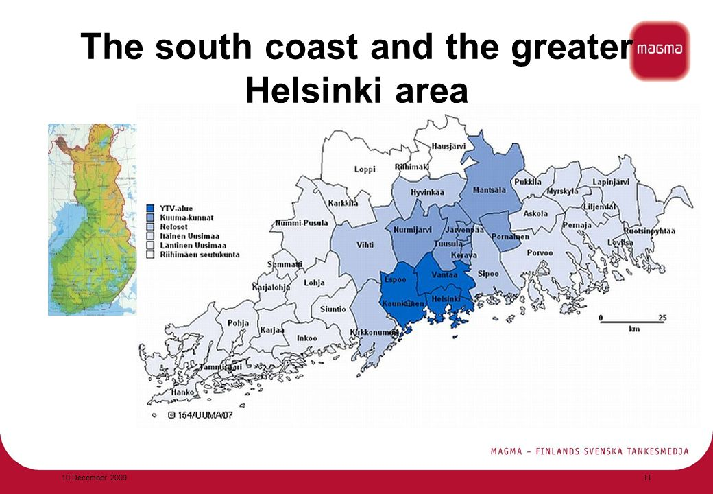 The south coast and the greater Helsinki area 10 December,