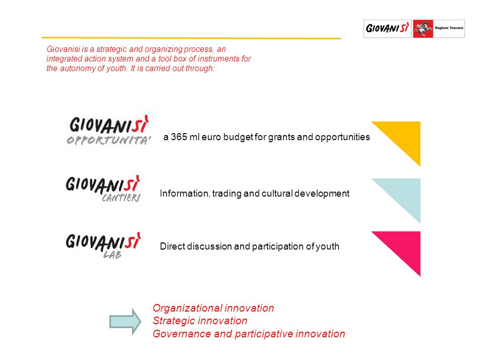 Organizational innovation Strategic innovation Governance and participative innovation Giovanisi is a strategic and organizing process, an integrated