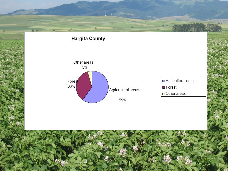Hargita County Agricultural areas 59% Forest 36% Other areas 5% Agricultural area Forest Other areas