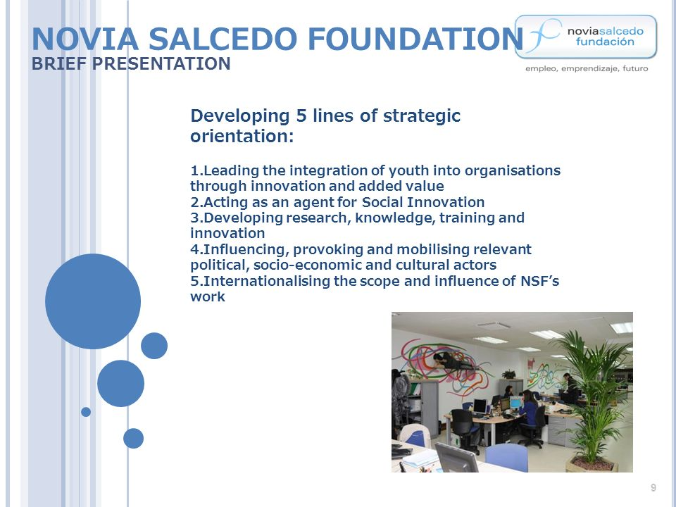 Developing 5 lines of strategic orientation: 1.Leading the integration of youth into organisations through innovation and added value 2.Acting as an agent for Social Innovation 3.Developing research, knowledge, training and innovation 4.Influencing, provoking and mobilising relevant political, socio-economic and cultural actors 5.Internationalising the scope and influence of NSFs work NOVIA SALCEDO FOUNDATION BRIEF PRESENTATION 9