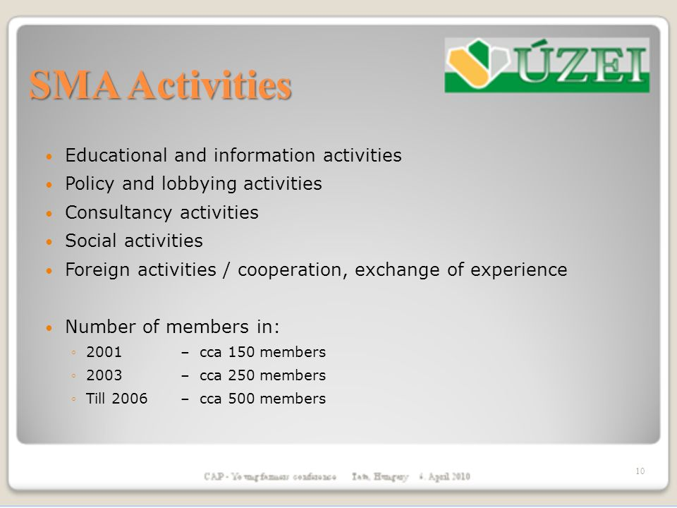 SMA Activities Educational and information activities Policy and lobbying activities Consultancy activities Social activities Foreign activities / cooperation, exchange of experience Number of members in: 2001 – cca 150 members 2003 – cca 250 members Till 2006 – cca 500 members 10