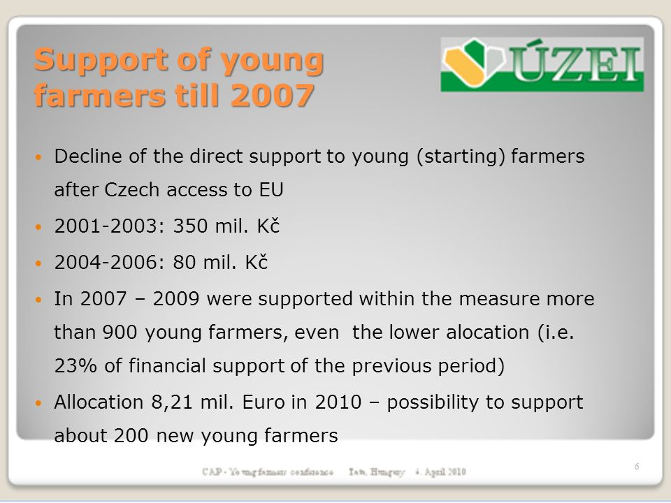 Support of young farmers till 2007 Decline of the direct support to young (starting) farmers after Czech access to EU : 350 mil.