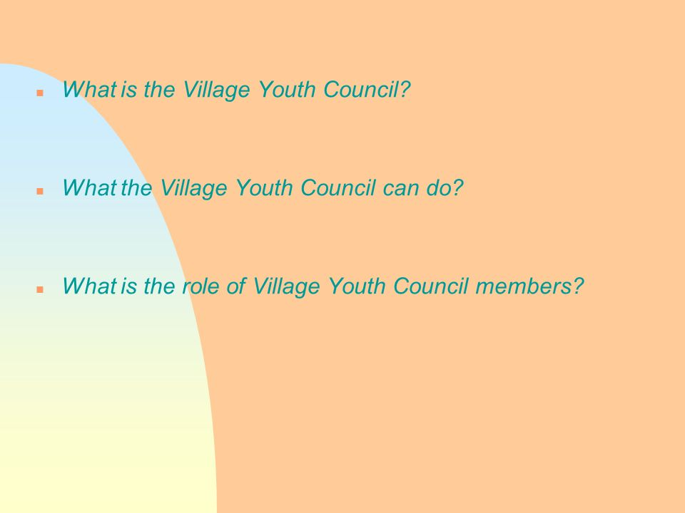 n What is the Village Youth Council. n What the Village Youth Council can do.