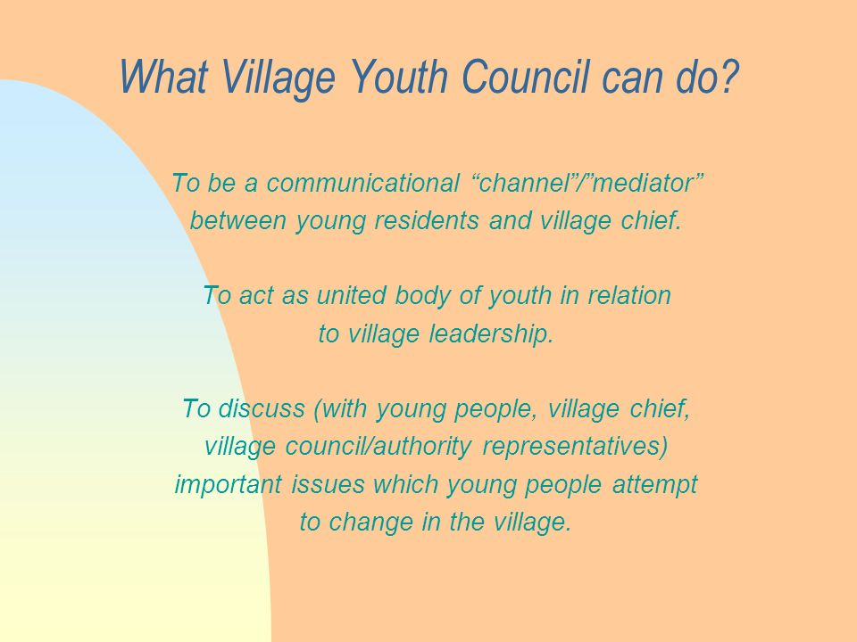 What Village Youth Council can do.