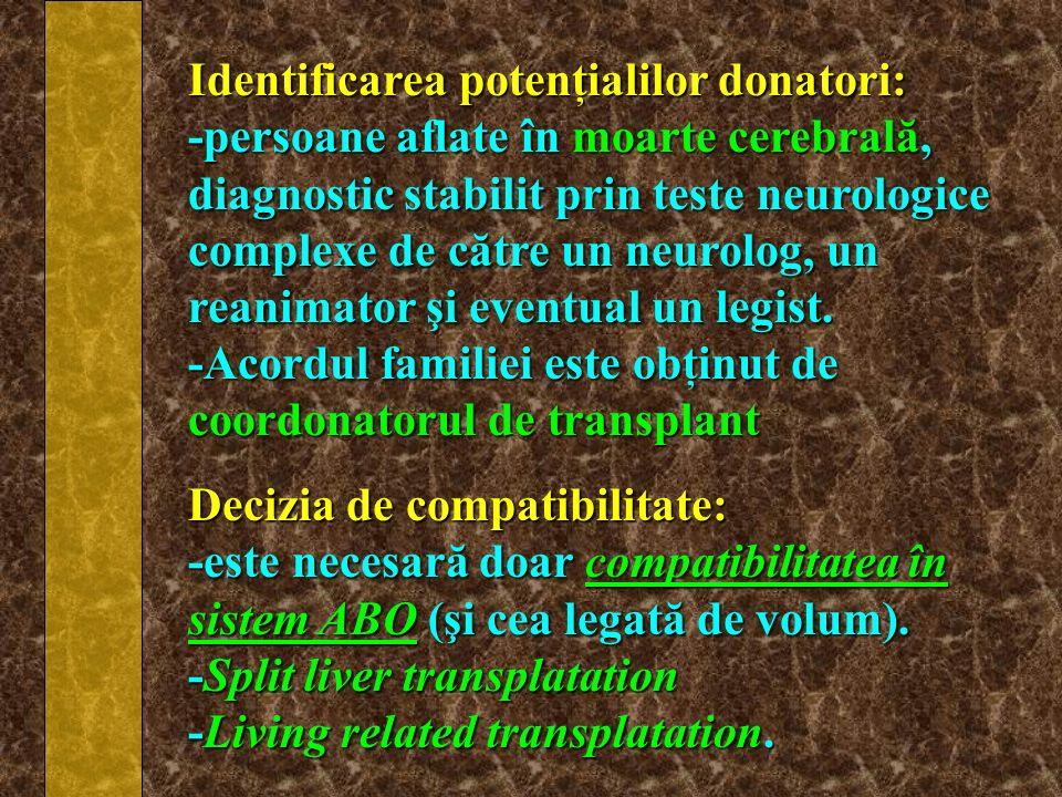 Identificarea potenţialilor donatori: -persoane aflate în moarte cerebrală, diagnostic stabilit prin teste neurologice complexe de către un neurolog,