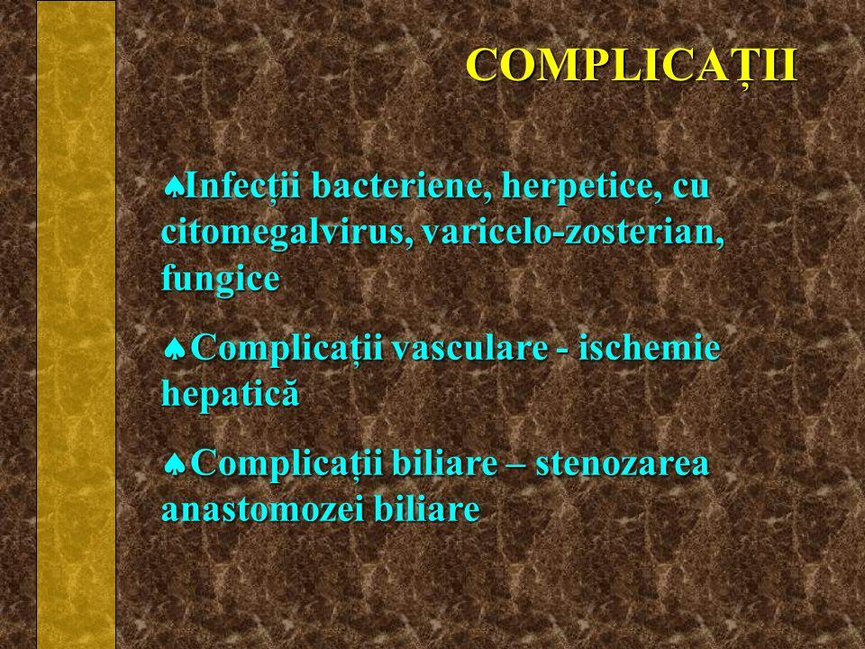 COMPLICAŢII Infecţii bacteriene, herpetice, cu citomegalvirus, varicelo-zosterian, fungice Infecţii bacteriene, herpetice, cu citomegalvirus, varicelo