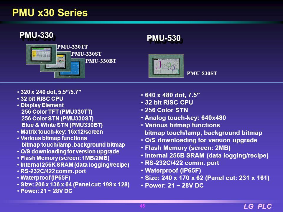 LG PLC 44 PMU x30 Series PMU Lineup PMU-330 5.7 PMU-530 7.5 PMU-730 10.4 PMU- 330ST PMU-330BT PMU- 330TT PMU-530ST PMU-730TTPMU-730ST PMU-830 12.1 PMU