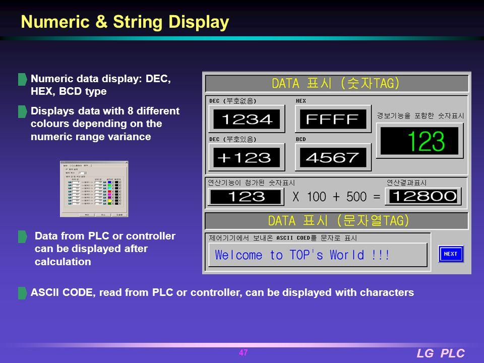 LG PLC 46 PMU-x30 Series PMU-730TT PMU-730ST PMU-830TT 640 x 480 dot, 10.4 32 bit RISC CPU Display Element 256 Color TFT (PMU 730TT) 256 Color STN (PM