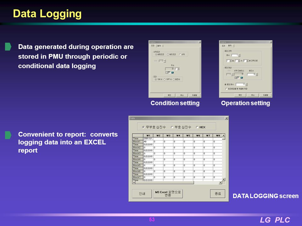 LG PLC 52 Recipe (parameter moving) Running data of each work are stored in PMU and when work changes, they are batch-transferred to the controller Ea