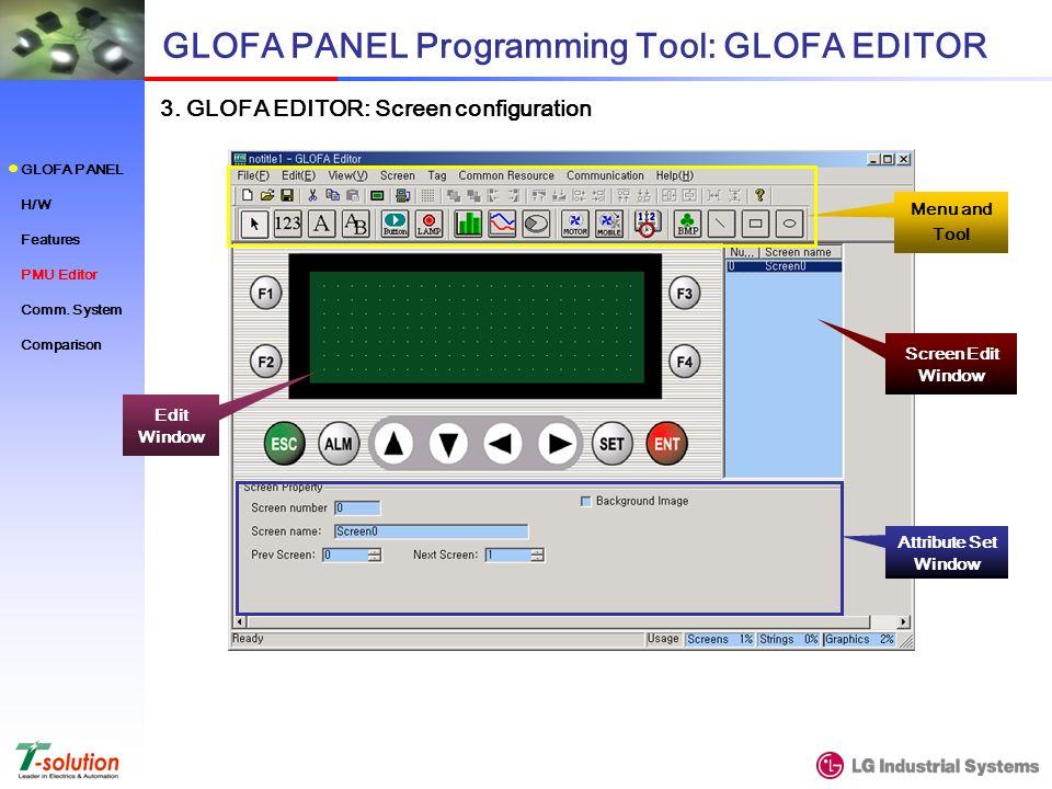 3. GLOFA EDITOR: Screen configuration GLOFA PANEL Programming Tool: GLOFA EDITOR Edit Window Menu and Tool Screen Edit Window Attribute Set Window GLO