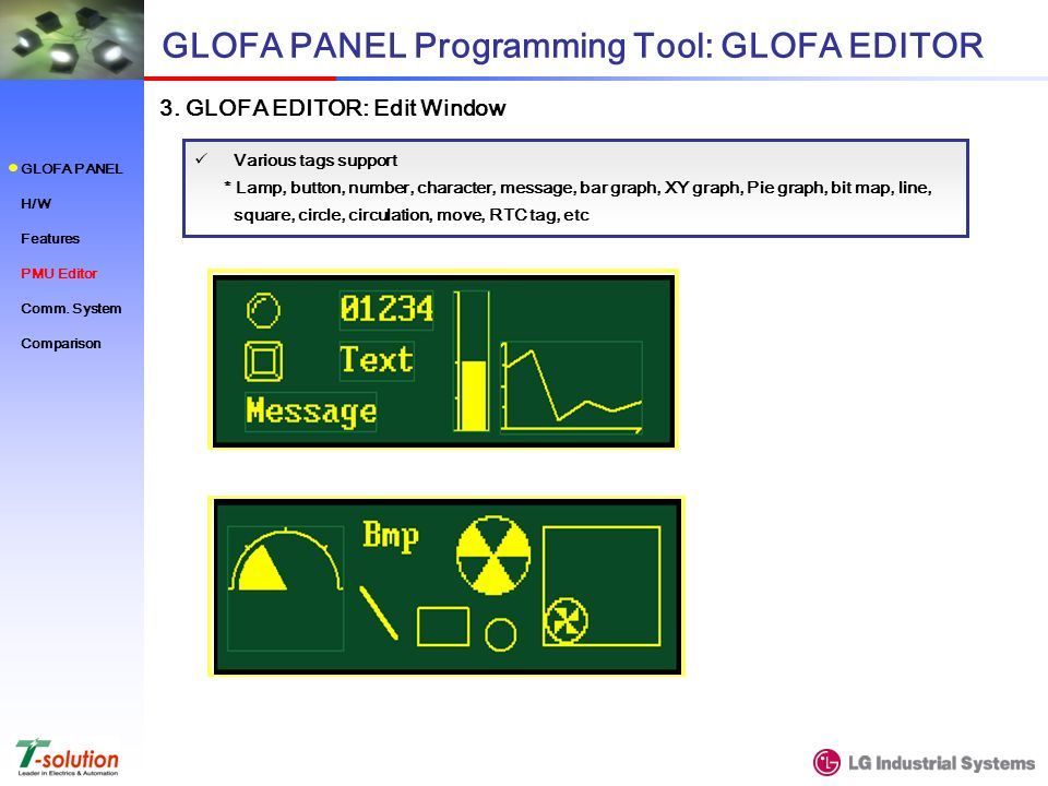 Various tags support * Lamp, button, number, character, message, bar graph, XY graph, Pie graph, bit map, line, square, circle, circulation, move, RTC tag, etc GLOFA PANEL Programming Tool: GLOFA EDITOR 3.