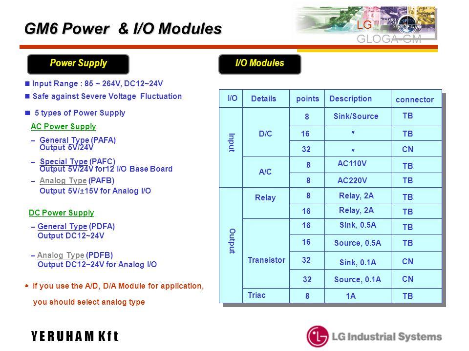 GM6 Power & I/O Modules LG GLOGA-GM connector Transistor I/O D/C A/C Relay Triac DetailsDescription 8 16 8 8 32 8 Sink/Source AC110V AC220V Relay, 2A