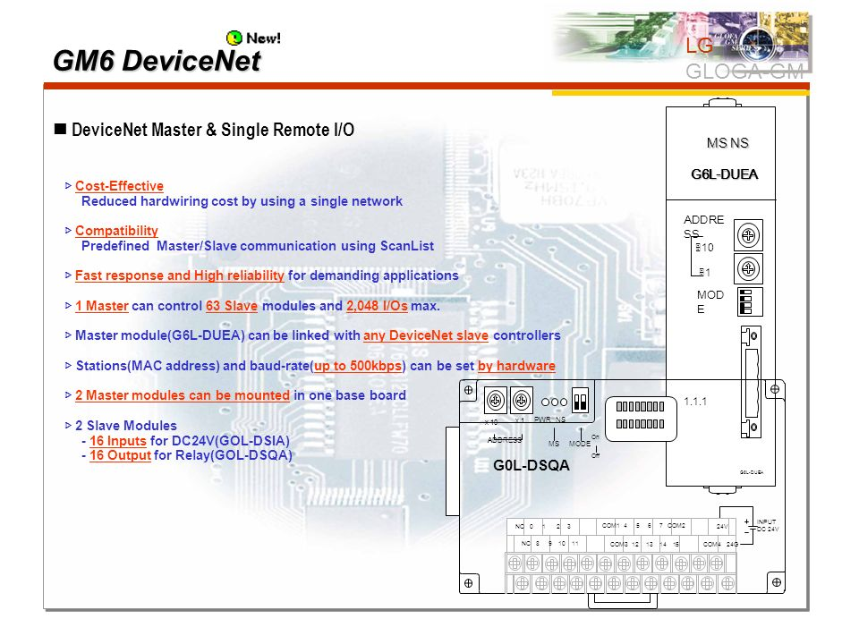 DeviceNet Master & Single Remote I/O Cost-Effective Reduced hardwiring cost by using a single network Compatibility Predefined Master/Slave communicat