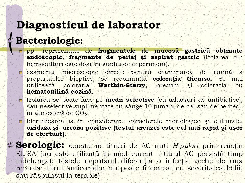 Diagnosticul de laborator Bacteriologic: pp- reprezentate de fragmentele de mucosă gastrică obţinute endoscopic, fragmente de periaj şi aspirat gastri