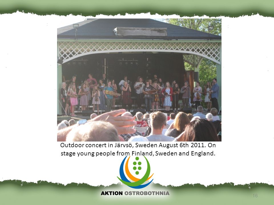 16 Outdoor concert in Järvsö, Sweden August 6th 2011. On stage young people from Finland, Sweden and England.