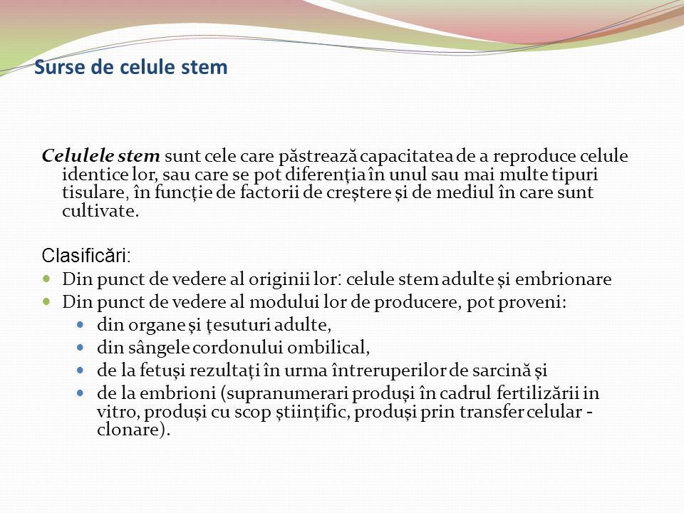 Surse de celule stem Celulele stem sunt cele care p ă streaz ă capacitatea de a reproduce celule identice lor, sau care se pot diferenţia în unul sau