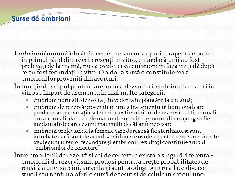 Surse de embrioni Embrionii umani folosiţi în cercetare sau în scopuri terapeutice provin în primul rând dintre cei crescuţi in vitro, chiar dac ă uni