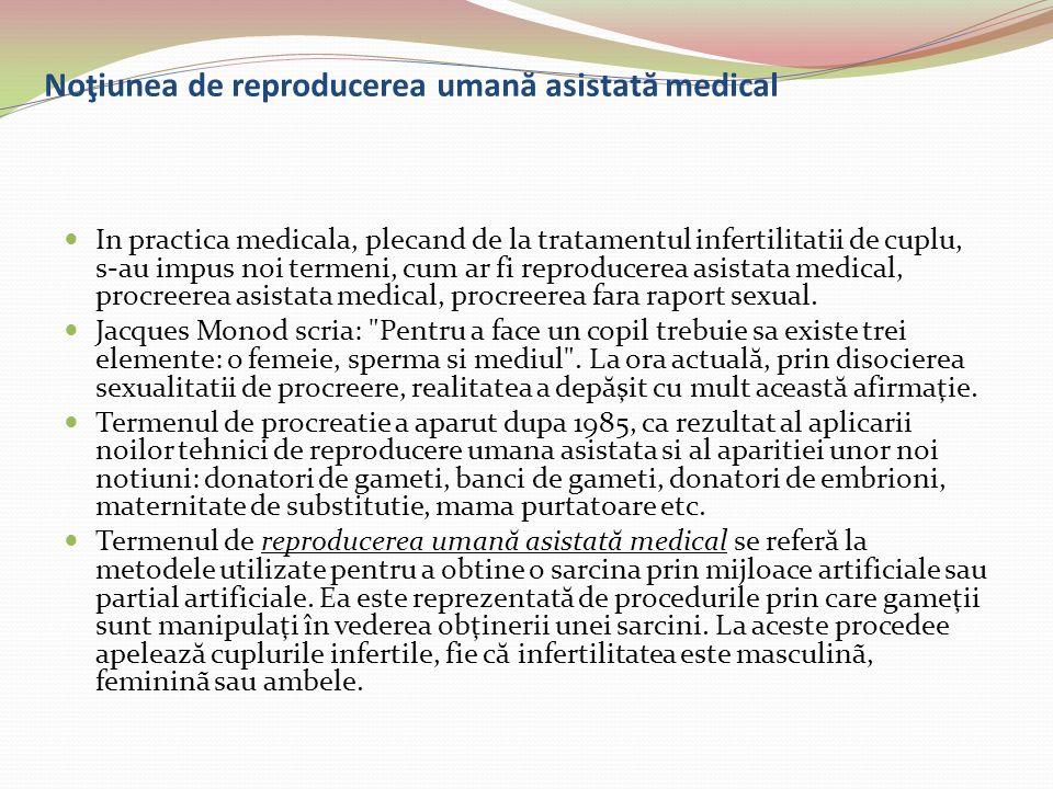 Noţiunea de reproducerea uman ă asistat ă medical In practica medicala, plecand de la tratamentul infertilitatii de cuplu, s-au impus noi termeni, cum
