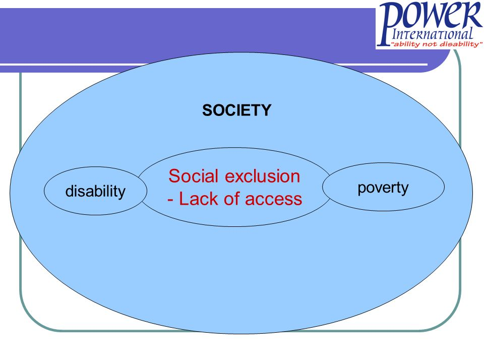 Dfids paper Disability, Poverty and Development (2000): Rights and needs of people with disabilities must be taken into account Poor people with disabilities are caught in a vicious cycle of poverty and disability Poverty and disability: cause and consequence THE DEVELOPMENT AGENDA