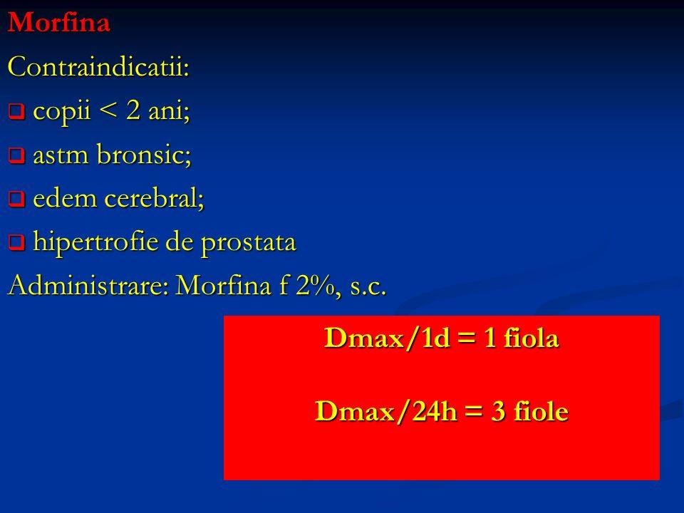 MorfinaContraindicatii: copii < 2 ani; copii < 2 ani; astm bronsic; astm bronsic; edem cerebral; edem cerebral; hipertrofie de prostata hipertrofie de