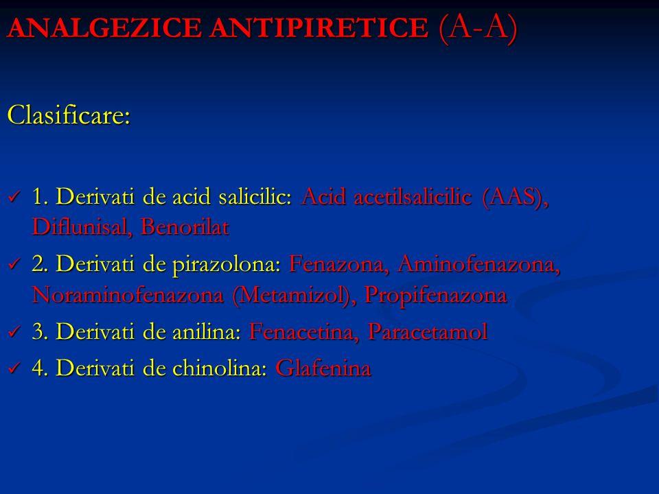 ANALGEZICE ANTIPIRETICE (A-A) Clasificare: 1. Derivati de acid salicilic: Acid acetilsalicilic (AAS), Diflunisal, Benorilat 1. Derivati de acid salici