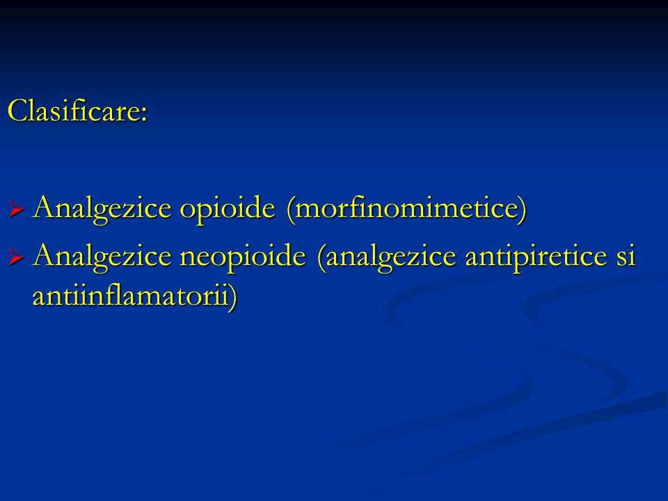 Clasificare: Analgezice opioide (morfinomimetice) Analgezice opioide (morfinomimetice) Analgezice neopioide (analgezice antipiretice si antiinflamator