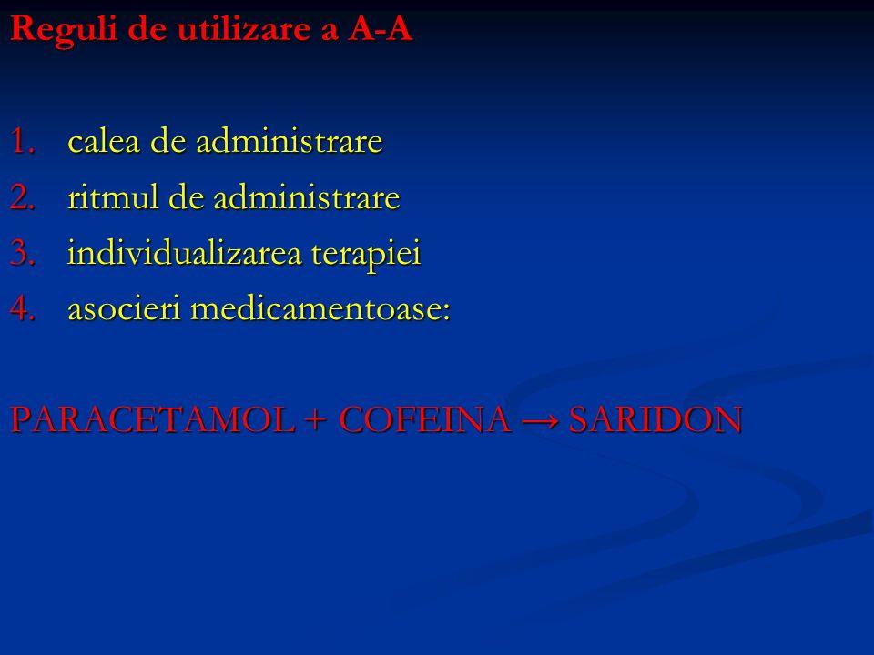 Reguli de utilizare a A-A 1.calea de administrare 2.ritmul de administrare 3.individualizarea terapiei 4.asocieri medicamentoase: PARACETAMOL + COFEIN