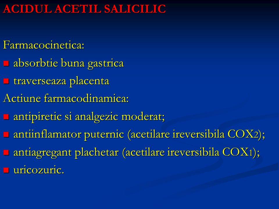 ACIDUL ACETIL SALICILIC Farmacocinetica: absorbtie buna gastrica absorbtie buna gastrica traverseaza placenta traverseaza placenta Actiune farmacodina