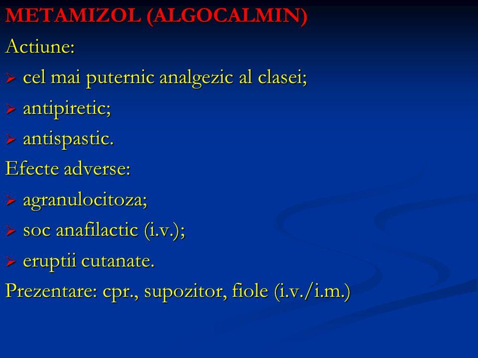 METAMIZOL (ALGOCALMIN) Actiune: cel mai puternic analgezic al clasei; cel mai puternic analgezic al clasei; antipiretic; antipiretic; antispastic. ant